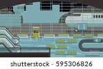 background of hall at airport. | Shutterstock . vector #595306826