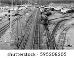 busy trainyard with many trains ... | Shutterstock . vector #595308305