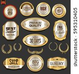 golden badges and labels with... | Shutterstock .eps vector #595310405