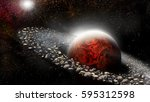 planet with ring of asteroids...   Shutterstock . vector #595312598