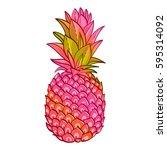 pineapple creative trendy art... | Shutterstock .eps vector #595314092