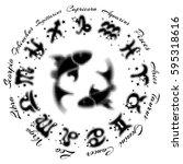 zodiac sign pisces 13... | Shutterstock .eps vector #595318616