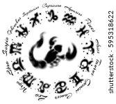 zodiac sign scorpio 13... | Shutterstock .eps vector #595318622