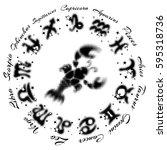 zodiac sign cancer 13... | Shutterstock .eps vector #595318736