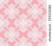 seamless pink damask pattern....   Shutterstock .eps vector #595320386