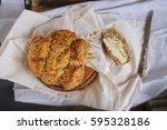 irish soda bread. warm tasty... | Shutterstock . vector #595328186