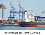 bulk carrier ship in port of... | Shutterstock . vector #595329485