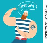 mighty pirate sailor with... | Shutterstock .eps vector #595330262