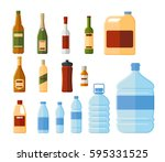 different bottles and water... | Shutterstock .eps vector #595331525