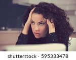portrait of stressed sad young... | Shutterstock . vector #595333478