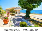 view on classical greek temple... | Shutterstock . vector #595353242