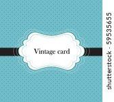 Blue Vintage Card  Polka Dot...