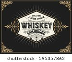 whiskey label with vintage frame | Shutterstock .eps vector #595357862