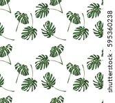 monstera tropical leaves... | Shutterstock .eps vector #595360238