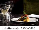 restaurant table set  main dish ... | Shutterstock . vector #595366382