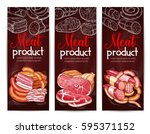 meat menu banner on chalkboard. ... | Shutterstock .eps vector #595371152