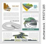 road travel banner template set.... | Shutterstock .eps vector #595371185