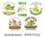 vegetable  bean and cereal farm ... | Shutterstock .eps vector #595372112