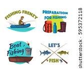 boat fishing cartoon icon set.... | Shutterstock .eps vector #595372118