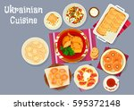 ukrainian cuisine traditional... | Shutterstock .eps vector #595372148