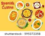 spanish cuisine icon of fried...   Shutterstock .eps vector #595372358
