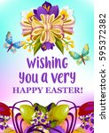happy easter wishes greeting... | Shutterstock .eps vector #595372382