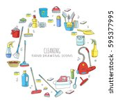 hand drawn doodle cleaning... | Shutterstock .eps vector #595377995