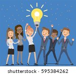 employees working... | Shutterstock .eps vector #595384262