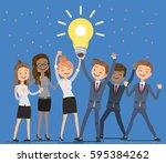 employees working... | Shutterstock .eps vector #595384262
