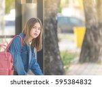 Girl Wait For A Bus.bored Teen...