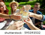 leisure  holidays  eating ... | Shutterstock . vector #595393532