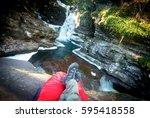 hiker on a sleeping bag in... | Shutterstock . vector #595418558