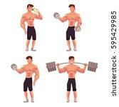 young man  male bodybuilder ... | Shutterstock .eps vector #595429985