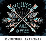 poster with hand drawn tribal...   Shutterstock .eps vector #595475156
