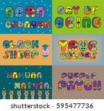 inscriptions for cards and t... | Shutterstock . vector #595477736