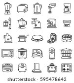 outline icon set of kitchen... | Shutterstock .eps vector #595478642