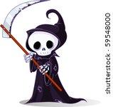 cute cartoon grim reaper with... | Shutterstock .eps vector #59548000