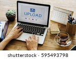 upload is a file transfer to...   Shutterstock . vector #595493798