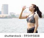 woman fitness outdoor concept ... | Shutterstock . vector #595495808
