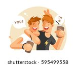 two friends having fun | Shutterstock .eps vector #595499558