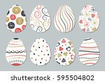 easter eggs set. gold  black ... | Shutterstock .eps vector #595504802