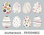 easter eggs set. gold  black ... | Shutterstock .eps vector #595504802