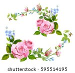 Stock vector collection of branch curly pink rose bouquet with blue flowers forget me not buds green stems 595514195