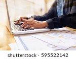 businesswoman working and... | Shutterstock . vector #595522142