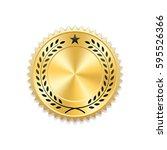 seal award gold icon. blank...   Shutterstock .eps vector #595526366
