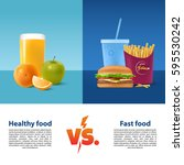 healthy food versus fast food.... | Shutterstock .eps vector #595530242