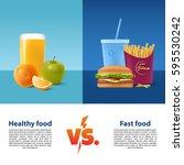 healthy food versus fast food.... | Shutterstock .eps vector #595530242
