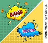 vector comic speach bubble with ... | Shutterstock .eps vector #595531916
