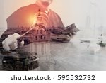double exposure of justice and... | Shutterstock . vector #595532732