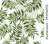 seamless pattern with green... | Shutterstock . vector #595546952